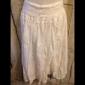 EUC-Jessica London White Eyelet Lace Skirt-Size 22